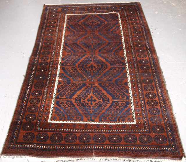 ***Spring sale*** £695.00 click the link www.knightsantiques.co.uk to view more items.  Size: 6ft 3in x 3ft 10in (190 x 118cm).  Antique Afghan Baluch rug of traditional 'mushwani' design, the rug is of a dark  ...