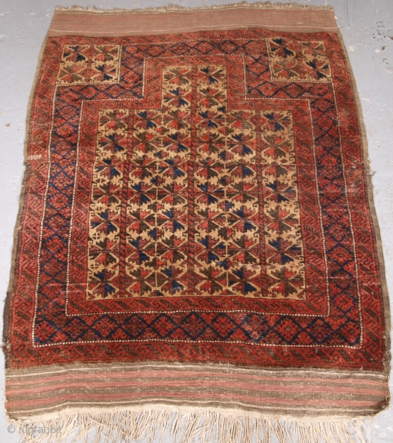 ***Spring sale*** £350.00 click the link www.knightsantiques.co.uk to view more items.  Size: 4ft 3in x 2ft 10in (130 x 86cm).  Antique Baluch camel ground prayer rug with tree of life.  Circa 1900.  The rug is very  ...