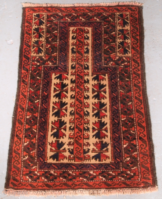 Childs Prayer rug £695.00 click the link www.knightsantiques.co.uk for more items.  Size: 3ft 3in x 2ft 2in (98 x 66cm).  Old Afghan Baluch camel ground prayer rug with tree of life of a size  ...