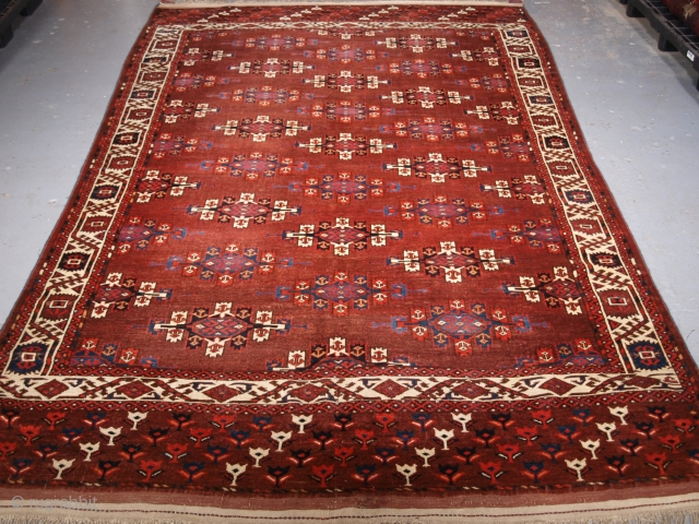 Size: 9ft 9in x 6ft 0in (296 x 184cm). Click the link www.knightsantiques.co.uk to view more items.  Antique Yomut Turkmen main carpet with the 'Kepse' gul design.  Circa 1860.  The carpet has a rich brown  ...