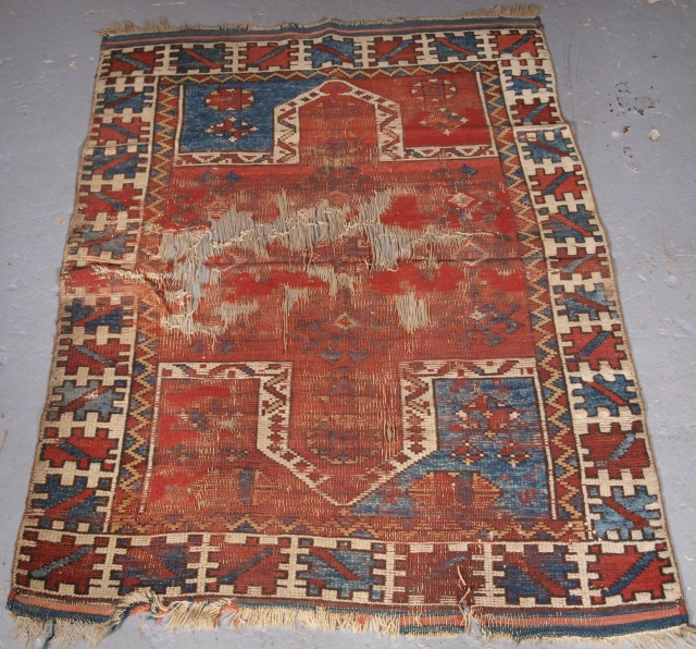 ***£195.00*** Click the link www.knightsantiques.co.uk to view more items. Turkish double niche prayer rug, well loved and used with every fault..... restoration project? 125 x 95cm.