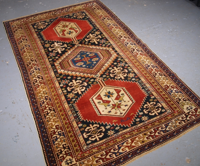 Caucasian Shirvan rug, click the link www.knightsantiques.co.uk to view more items. Size: 6ft 6in x 4ft 0in (197 x 121cm).  Antique Caucasian Shirvan rug of the classic linked medallion design.  Circa 1890.  A good example  ...