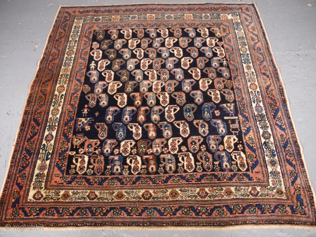 Afshar rug, size: 144 x 135cm. click the link www.knightsantiques.co.uk to view more items.