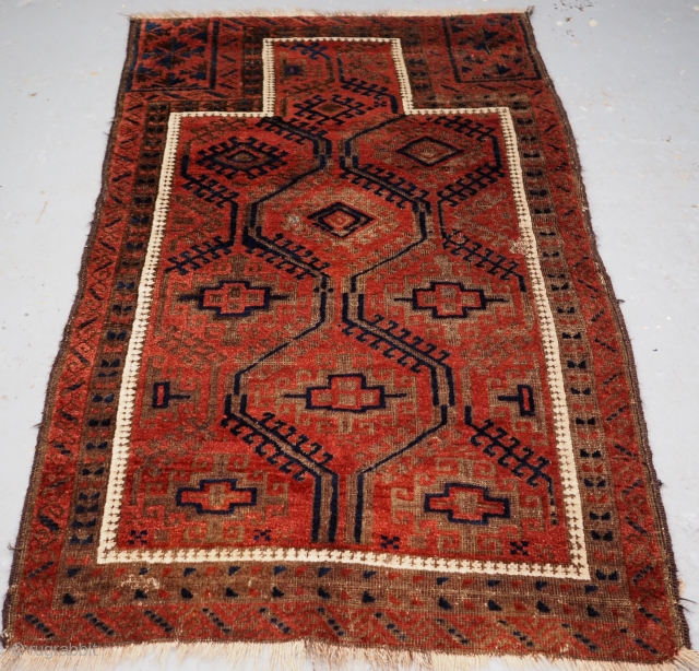 Antique Baluch prayer rug with large scale lattice design. www.knightsantiques.co.uk  Size: 4ft 9in x 2ft 10in (146 x 87cm).  Circa 1900.  A interesting design on a Baluch prayer rug from Western Afghanistan, the  ...