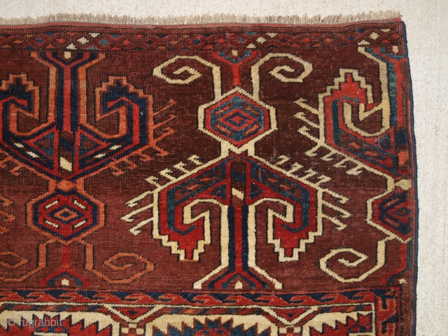 Antique Yomut Turkmen main carpet with the 'Dyrnak' gul design and superb large elem panels at both ends. www.knightsantiques.co.uk 