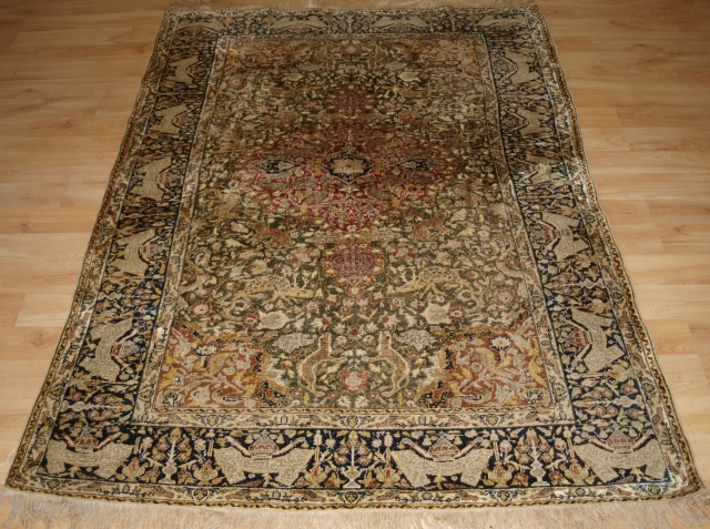 Antique Anatolian Kayseri pictorial silk rug with 'hunting' design. www.knightsantiques.co.uk 
