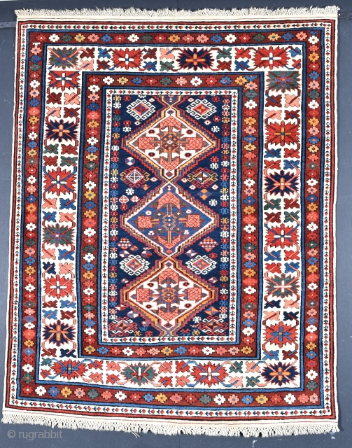 Very fine antique Shirvan rug in extraordinary condition. Full pile no repairs with wonderful macramé end finishes intact. Late 19th century. 137x109cm