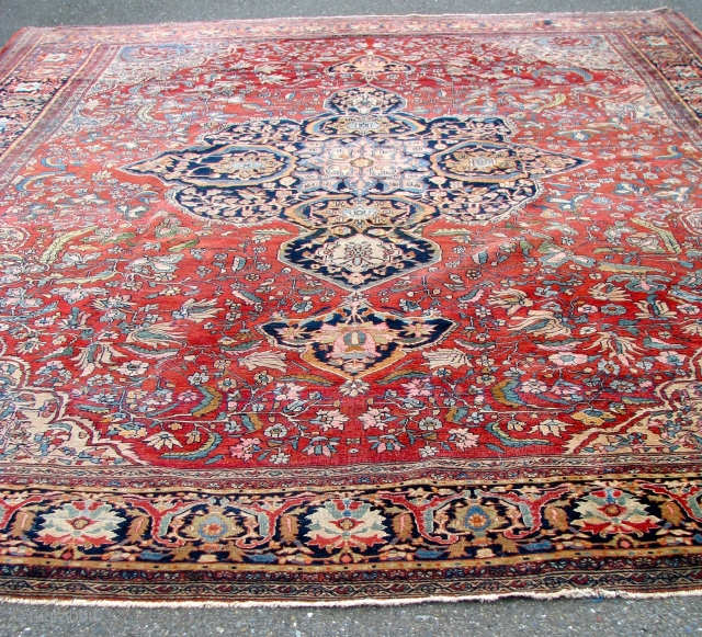 """Nice Ferraghan Sarouk  --  19th Century  --  10'9""""  x  13'1""""  --  Not perfect, but in Real Nice Condition ; All Natural Dyes.    ..."""