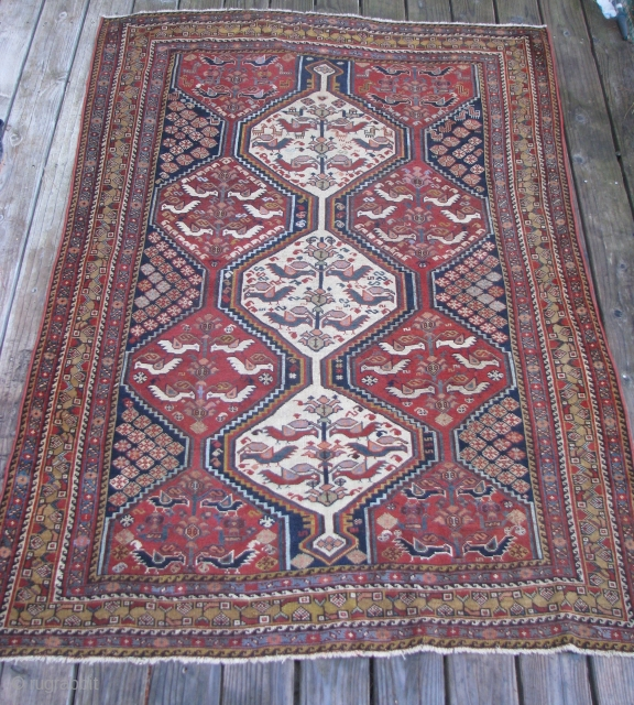 """Antique 19th Century Khamseh Rug--  75""""  x  55 1/2""""  --  All Natural dyes;  Evenly low pile."""