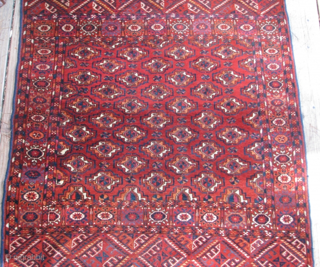"Antique Tekke Rug  --  40""  x  43 1/2""  --  All Natural dyes; Excellent Condition; Has one small crease in the border, otherwise full pile throughout. Has  ..."