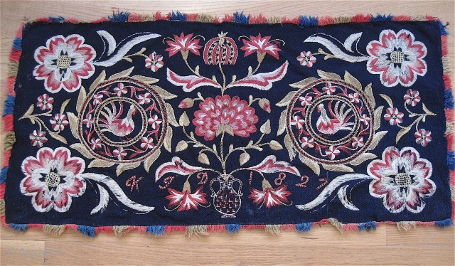 "Outstanding Swedish embroidery, dated 1827. 20"" x 42"". Just one small moth bite."