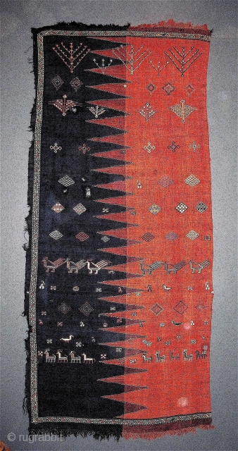 Charming Caucasian verneh half panel, birds, animals, trees, fine weave, great color, good age...mid-19th.