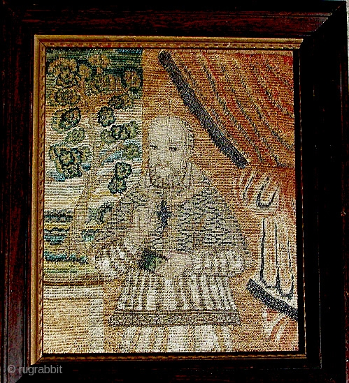 """European, (probably French) silk and silver thread embroidery portrait of St. Francis de Sales, the 'gentleman saint', 17th/18th C. Framed. Approx 9"""" x 10""""."""