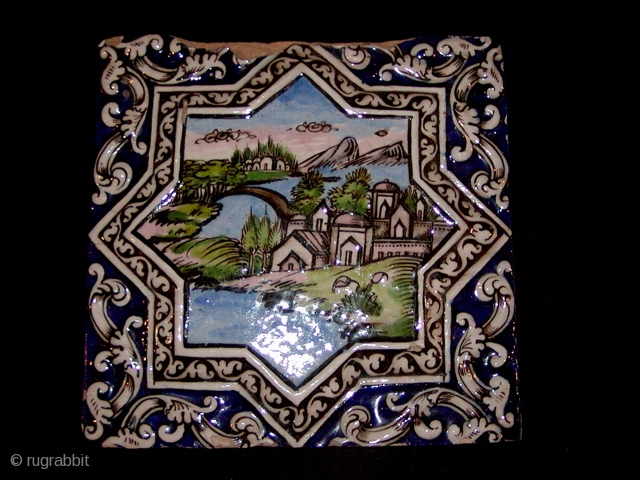 "Persian Tile, Qajar Period, 19th C. 10"" x 10"", center medallion and border details in high relief"
