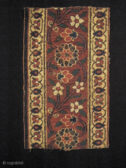 """Two jufti knotted Persian fragments, 18th C. Probably Khorasan. 13"""" x 22"""", and 13"""" x 27"""". The larger one (corner) has a small, old sumakh repair and what appears to be a  ..."""