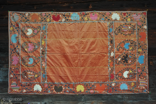 Unusual Suzani embroidered on silk. End  XIX century.
