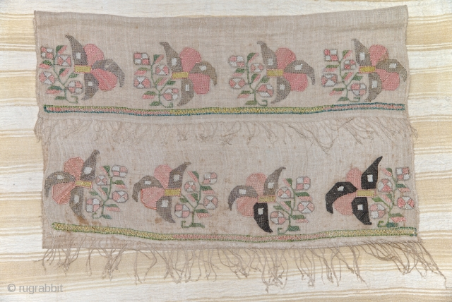 XVIII century Otoman embroidered towel. Unfold : 45 X 97 cm