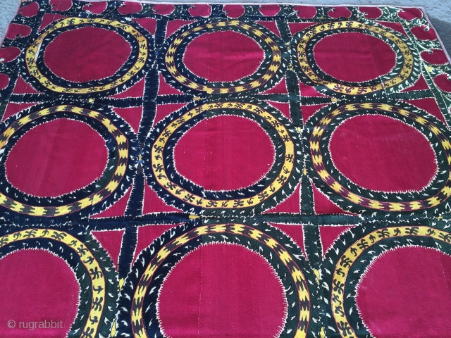 Excellent early 19th cent Uzbek Tashkent region Suzani. Excellent veg dyes colours and stitches. Good condition, the size is 230cm by 180cm.