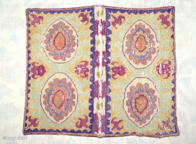 Excellent 19th cent Uzbek Shakhrisyabz region book cover. Beautiful cross stitches, and spectacular veg dyes colours. it has beautiful ikat inside book cover. it is rare piece. Mint condition.