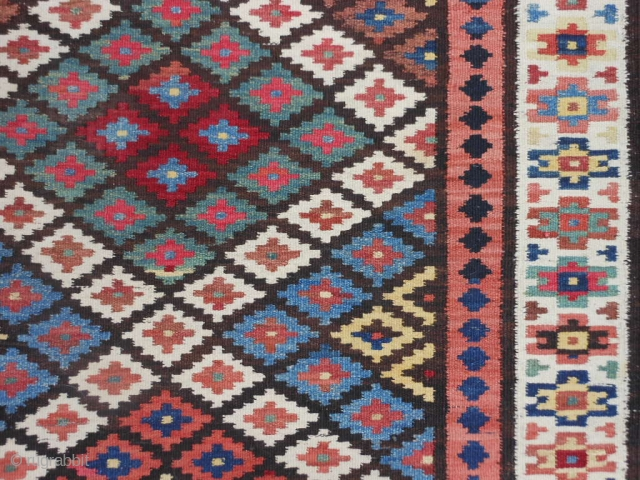 Persian Saveh Kilim, early 20th century, 3-3 x 13-4 (.99 x 4.06), very good condition, closed dovetail tapestry weave, strong and tight, reversible, rug is clean, plus shipping.