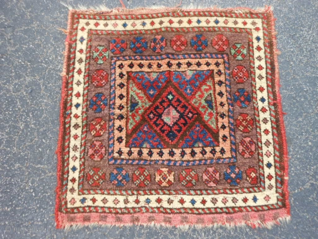 Persian Jaf Kurd bag face, late 19th century, 1-10 x 1-10 (.56 x .56), good condition, good pile, rug was hand washed, plus shipping.