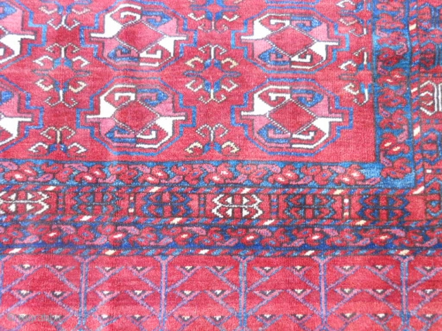 Turkmen Beshir Chuval, late 19th century, 3 x 4-8 (.91 x 1.42), very good condition, skirt end overcast, I washed this rug, plus shipping.