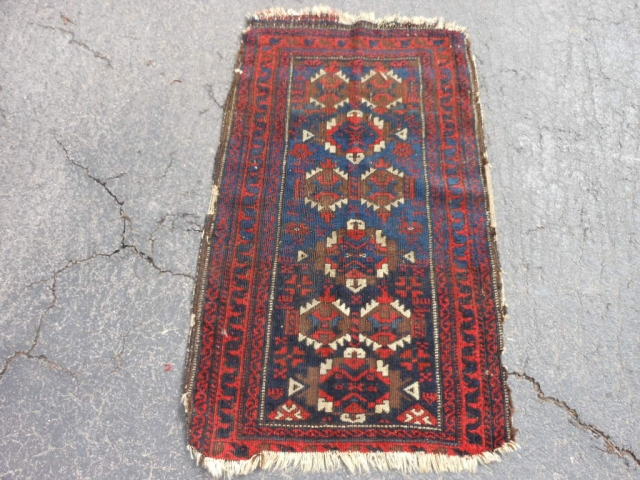 Persian Baluch Balisht, late 19th century, 1-10 x 2-10 (.56 x .86), missing ends, missing sides, hand washed, decent pile, browns oxidized, sky blue and navy blue, floppy handle, no rot, plus  ...
