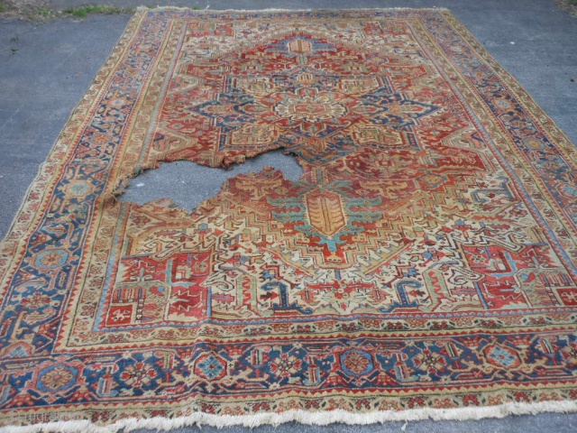 "Persian Heriz, early 20th century, 9-3 x 12 (2.82 x 3.66), hole (from plant pot rot) 2-6 x 3, allow 6"" past hole for rot, rest of rug is not rotted and  ..."