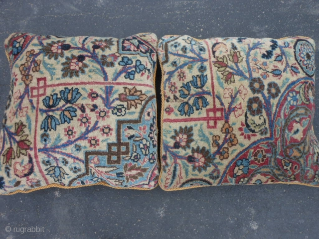 2 Persian Meshed Pillows, early 20th century, 1-6 x 1-6 (.46 x .46), very good condition, plus shipping.