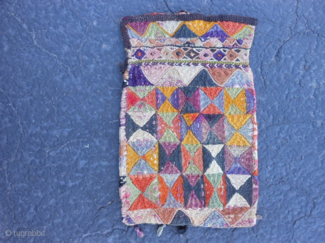 "Uzbek Purse/Bag, early 20th century, 5"" x 8"" (.13 x.20). good condition, silk and cotton, some fading and dye run, each side different, plus shipping."