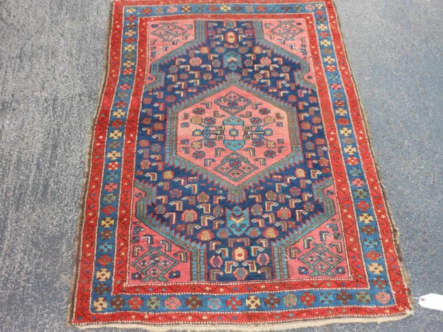 Persian Hamadan, 3-7 x 4-9 (1.09 x 1.45), early 20th century, good condition, good pile, has original selvage both ends, edges need some wrapping, nice colors and design, I washed this rug.