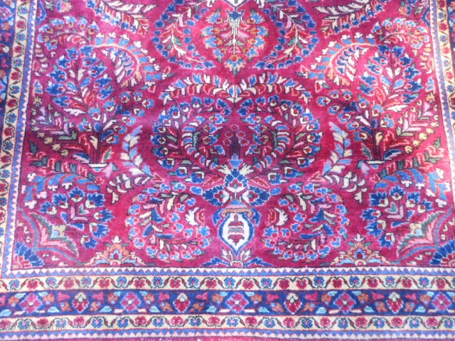 Persian Sarouk, early 20th century, 3-5 x 4-11 (1.04 x 1.50), very good condition, rug was hand was washed, original knotted fringe ends and overcast, American painted Sarouk, original edges, full pile,  ...