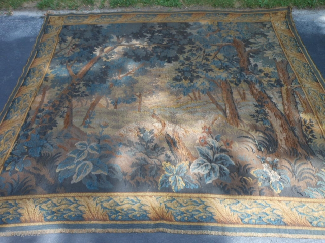 Flemish Tapestry, Late 19th Century, 6-11 x 7-9 (2.11 x 2.36), Forest Meadow Scene with Animals, clean, rings on back for hanging, some wear, some old repairs, plus shipping.
