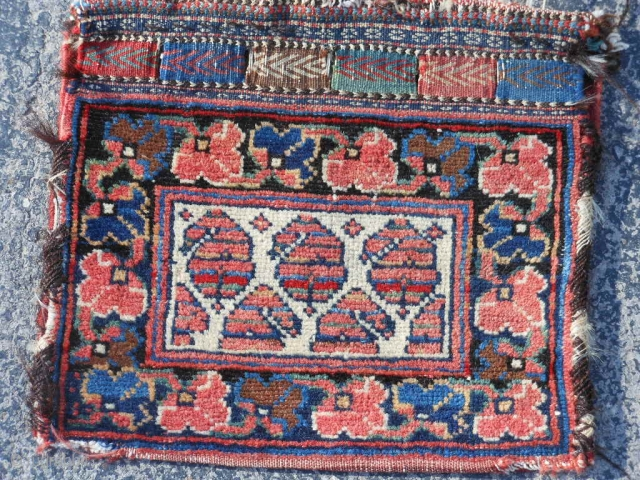 """Persian Afshar Chanteh bag, late 19th century, 11"""" x 13"""" (.28 x .33), very good condition, I washed this piece, side wrapping unraveling a little."""