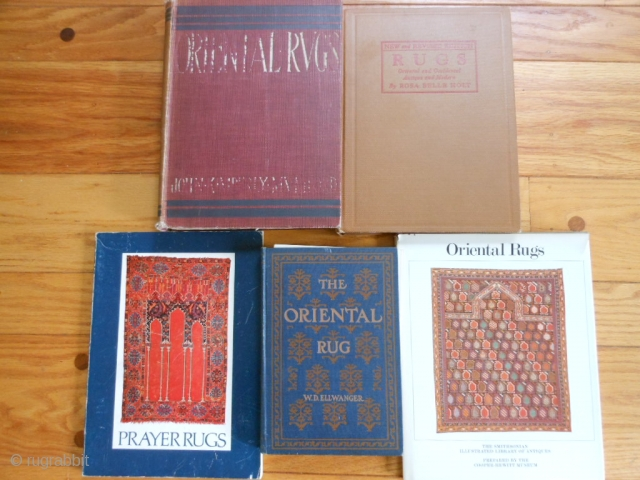 5 oriental Rug Books: Prayer Rugs, Textile Museum, 1974, soft cover, good condition.  The Oriental Rug, Ellwanger, 1903, hard cover, fair condition.  Oriental Rugs, Smithsonian Museum and Cooper-Hewitt Museum, 1979, hard cover, dust jacket, good  ...
