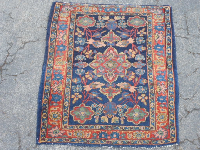 Persian Sarouk, 2-6 x 2-11 (.76 x .89), circa 1930, very good condition, thick pile, fine weave, original edges and ends, ends overcast, I washed this rug.