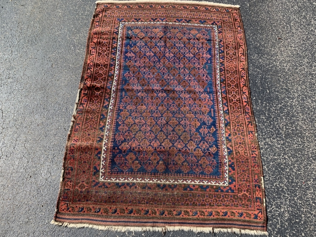 Timuri Baluch, late 19th century,  3-4 x 4-11 (102 x 150),  some kilim ends left, browns oxidized,  rug was hand washed,  super blue,  even wear, side binding  ...