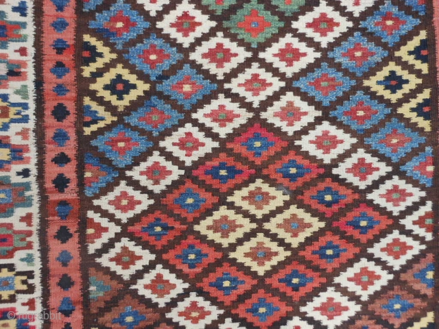 Persian Saveh Shah Savan Kilim, early 20th century, 3-3 x 13-4 (.99 x 4.06), very good condition, closed dovetail tapestry weave, strong and tight, reversible, clean, plus shipping.