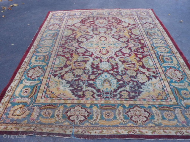 Indian Agra, circa 1900, 8-1 x 10-0 (2.41 x 3.05), rug was hand washed, edge needs binding, no holes, no rot, 5 inch slit (pic), worn areas, plus shipping.
