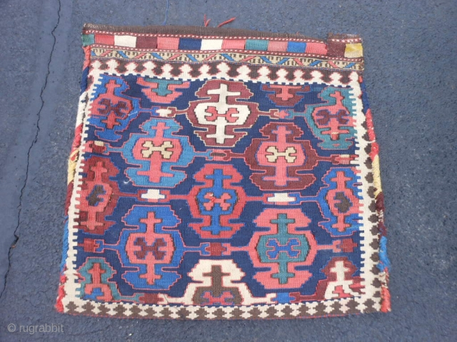 Persian Veramin Kilim bag, late 19th century, 2-2 x 2-2 (.66 x .66), good condition, slit tapestry weave, needs wash, interesting striped back, last pic notice striped back was shorten about 2  ...