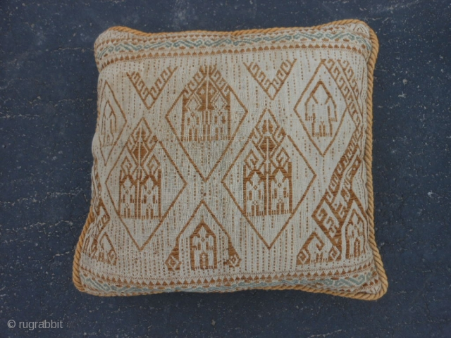 "Indonesian Boat cloth pillow, early 20th century, 14"" x 14"" (.36 x .36), very good condition, boat cloth made into pillow, clean, cotton, plus shipping."