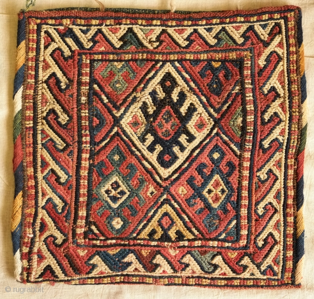 Kordi bag, 1900 or so. Natural dyes. Beautiful, rich back.  The yellow areas on the front is a little faded on the face but brighter in the inside.  Same for  ...