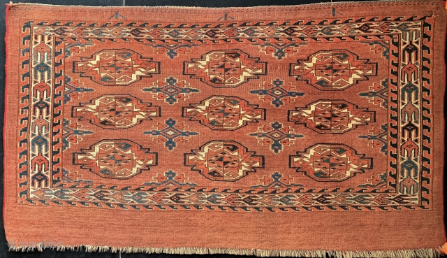 Antique classic Turkmen Yomud (Yomut) 9-gul chuval, in lovely condition.  All dyes appear natural.  Please ask for additional photos if needed.