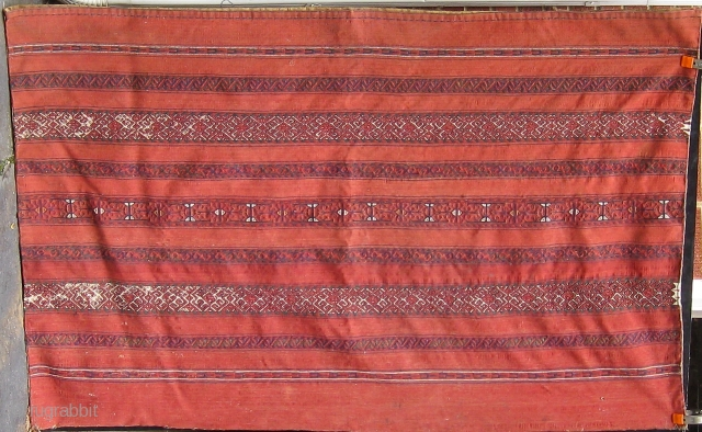 Antique Ersari or Kizil Ayak large flat woven chuval complete with original back.  All dyes appear natural.