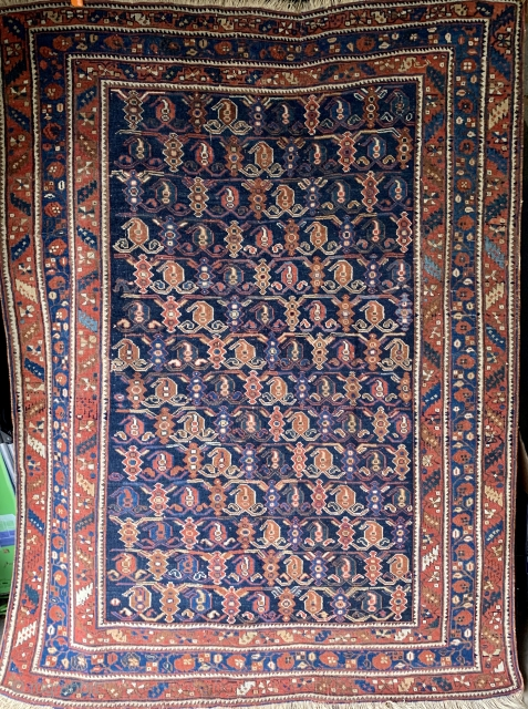 """Lovely antique Persian Afshar rug, circa 1910.  Approximately 4' 5"""" by 6'2"""".  In nice condition.  All dyes natural.  Please ask for additional photos."""