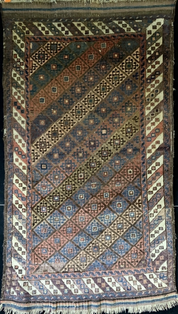 Antique Turkish knotted Baluch carpet with beautiful colors.  Please ask for additional photos.