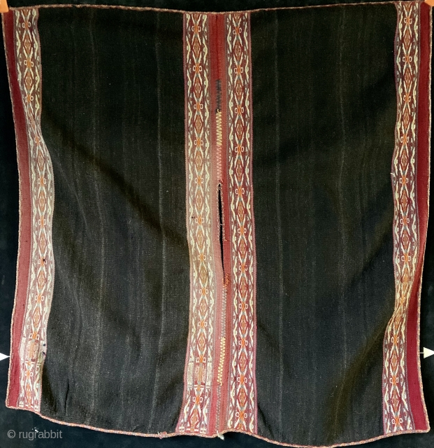 Large antique Aymara or Quechua poncho.  Geometric pattern stripes woven with complementary warps to create a raised texture.  Diamond motif tubular edge binding all around.  Probably very early 20th  ...