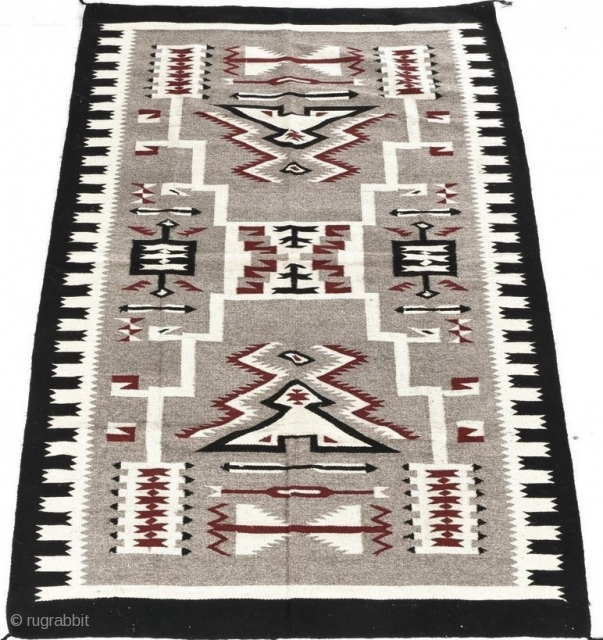 "Large Storm Pattern Navajo rug, post 1970, in very good condition.  82"" by 54"".  Please ask questions."