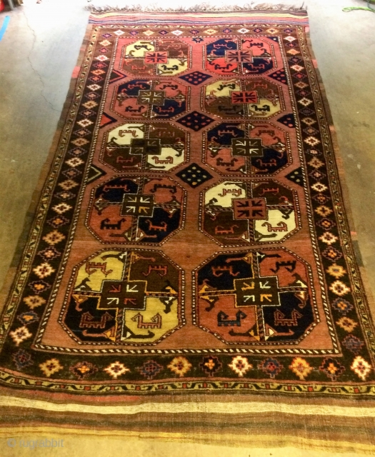 Antique  Uzbek main carpet in wonderful condition with full pile, complete kilim ends, and complete edges (5 cord on one side, 7 cord on the other).  Soft silky wool.   ...
