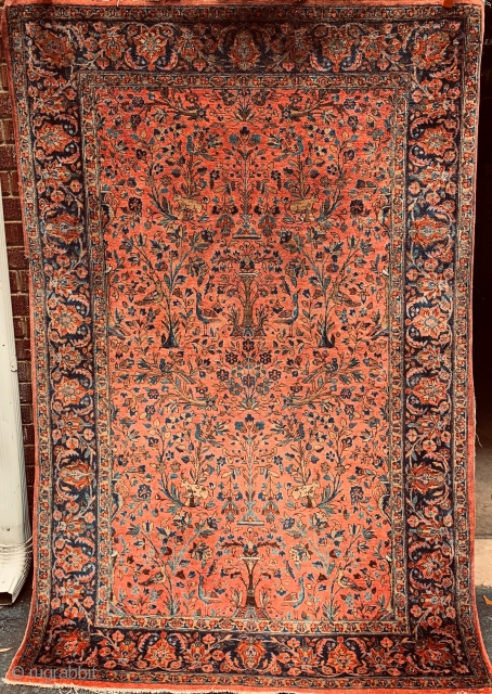 "Birds and deer in a formal garden.  Antique Manchester Kashan Persian rug, circa 1920s, in beautiful condition except for a small bite on the left edge (easily fixed). 4'2"" by 6'5"".  ..."